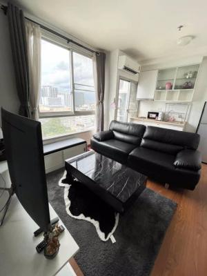 For RentCondoThaphra, Wutthakat : LC-R460 Condo for rent, The Parkland Ratchada-Thapra (opposite The Mall Thapra) 10,000 baht per month, fully furnished, ready to move in, 17th floor, building view (29-storey building) - Room size 35.4 square meters - 1 bedroom 1 1 bathroom, living room -