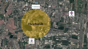 For SaleLandSamrong, Samut Prakan : Beautiful plot of land for sale, size 28 rai, Thepharak Road, cheapest price!