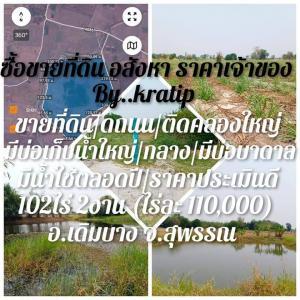 ขายที่ดินสุพรรณบุรี : ขายที่ดิน 103ไร่ ติดถนน มีบ่อเก็บน้ำ เดิมบาง สุพรรณ
