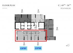 Sale DownCondoSukhumvit, Asoke, Thonglor : Park Thonglor Penthouse, ceiling height 3.5 meters, 57th floor, Rare Item Unit