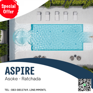 For SaleCondoRatchadapisek, Huaikwang, Suttisan : Best price!! ASPIRE Asoke-Ratchada Condo near MRT Rama 9 and Central Rama 9, large central area, NEW LUXE CLASSIC, English style