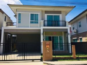 For RentHouseSamrong, Samut Prakan : For Rent: 2 storey detached house for rent, Passorn Pride Srinakarin Village - Nam Daeng, beautiful house, fully furnished, 4 air conditioners, very beautiful house, can accommodate small animals.