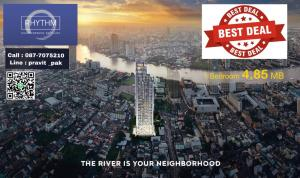 Sale DownCondoSathorn, Narathiwat : Selling down payment, price around VVIP, cheaper than walking into the project, now it's a million, 1 bedroom, garden view, river view, only 4.85 MB