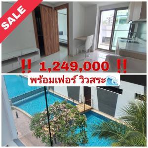 For SaleCondoPattaya, Bangsaen, Chonburi : Beautiful room, pool view, get a refund of more than two hundred thousand Arcadia Beach Resort Arcadia beach resort, Jomtien, Pattaya, ready to manage the rental immediately.