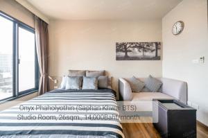 For RentCondoSapankwai,Jatujak : Onyx Phaholyothin Studio 1 Bathroom 26 sq.m. 7th Floor Condo for rent 14,000 THB/month Near BTS Saphan Kwai