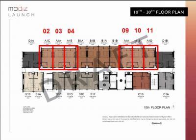 ขายดาวน์คอนโดรังสิต ธรรมศาสตร์ ปทุม : Modiz Launch ห้อง 1-bed 26 ตร.ม. ชั้นกลางๆ ราคาต่อยูนิตไม่สูง
