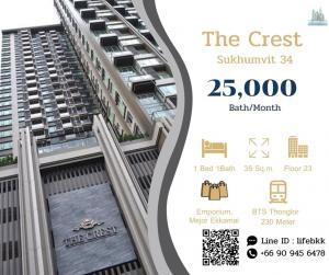 For RentCondoSukhumvit, Asoke, Thonglor : Line ID : lifebkk Rent The Crest Sukhumvit 34 Ready to move in  1 bedroom  Area  35 Sq.m. Rental 25,000 Bath