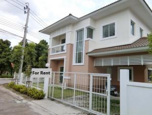 For RentHouseNawamin, Ramindra : house for rent Lanzio Watcharaphon Village, Sukhaphiban 5 Road, near the expressway entrance, behind the corner, fully furnished, 2 air conditioners