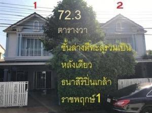 For SaleTownhouseRama5, Ratchapruek, Bangkruai : ขายบ้าน หมู่บ้านธนาสิริ ราชพฤกษ์ ปิ่นเกล้า1 ติดถนนใหญ่ ทำเลสวย แถวนี้ไม่มีแล้ว