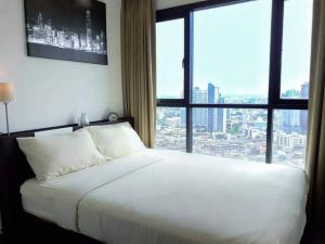 For RentCondoOnnut, Udomsuk : LC-R632 Condo The Base park west, Sukhumvit 77☆, 32nd floor, size 30 sq.m., 1 bedroom, 1 bathroom, 1 living room, 1 kitchen, 2 air conditioners, corner room, very beautiful, fully furnished, beautiful view.