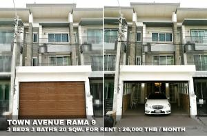 For RentTownhousePattanakan, Srinakarin : FOR RENT TOWN AVENUE RAMA 9 / 3 beds 3 baths / 20 Sqw. **26,000** Modern luxury decorated. Fully furnished. CLOSE BRIGHTON COLLEGE BANGKOK