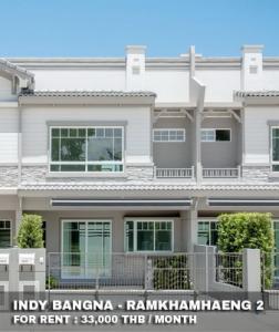 For RentTownhouseBangna, Lasalle, Bearing : FOR RENT INDY BANGNA - RAMKHAMHAENG 2 / 3 beds 3 baths / 22 Sqw. **33,000** Modern decorated. Fully furnished lovely townhouse. CLOSE RAMKHAMHAENG 2 UNIVERSITY