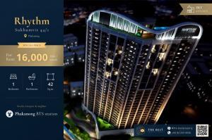 For RentCondoOnnut, Udomsuk : 🔥 Super best price Rhythm 44/1, size 42 Sq.m, rent only 16,000 baht / month