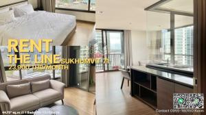 For RentCondoOnnut, Udomsuk : For rent, The Line Sukhumvit71, 1 bedroom, 44.75 sq.m., fully furnished, city view, only 23,900 / month, 1 year contract only.
