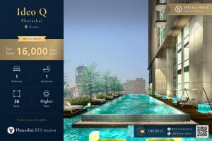 For RentCondoRatchathewi,Phayathai : 🔥 Rent student price - student Ideo Q Phayathai 1 bedroom only 16,000 baht / month 🔥