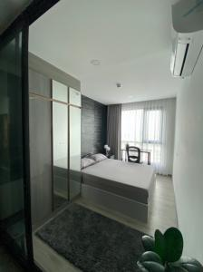 For SaleCondoBangna, Lasalle, Bearing : 400 m., next to BTS Bearing, only 7 minutes to BTS On Nut, Knightsbridge Collage Sukhumvit 107, Sukhumvit area, 1 bedroom, beautiful room, high floor, clear city view, fully furnished, electric ready