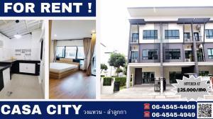 For RentTownhouseRangsit, Patumtani : A 3-storey townhouse for rent at CASA CITY Wongwean - Lamlukka, 3BR/4BA.