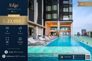 For RentCondoSukhumvit, Asoke, Thonglor : 🔥 Very good price for rent, Edge Sukhumvit 23, size 45 Sq.m, rental price 23,000 baht / month