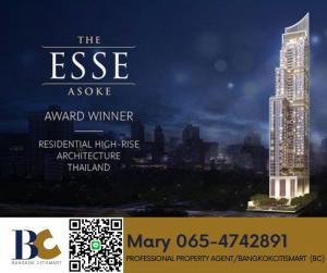 For SaleCondoSukhumvit, Asoke, Thonglor : 🔥Best Price🔥The Esse Asoke⭐ 2 bedroom / Floor 50+ / 20.6 ล้าน 【065-4742891】