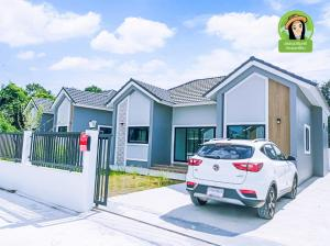 For SaleHouseUbon Ratchathani : Baan Meesuk Phase 12, a beautiful house in Nordic style, 3 bedrooms, 2 bathrooms, on an area of 55 square wa, Ubon Ratchathani Province.