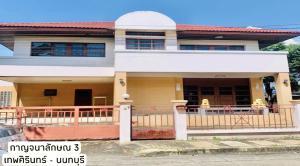 For RentHouseRama5, Ratchapruek, Bangkruai : A 2-STOREY DETACHED HOUSE at KARNCHANALUCK 3 VILLAGE for rent, 3BR/3BA, only 3-minute drive to Srirut-Wongwaen Express Way.