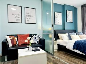 For SaleCondoBangna, Lasalle, Bearing : W0837 For sale, D Condo Sukhumvit 109, 1 bedroom 1 bathroom, Size 30 sqm, 2nd floor, unblocked view, Building A, Fully furnished, Near BTS Bearing