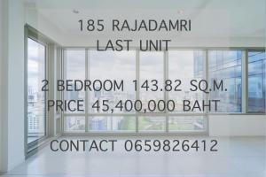 For SaleCondoWitthayu, Chidlom, Langsuan, Ploenchit : LAST UNIT! 185 RAJADAMRI 2BEDROOM 143.82 SQ.M. PRICE 45.4 MB   CONTACT 0659826412