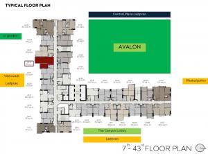 ขายดาวน์คอนโดลาดพร้าว เซ็นทรัลลาดพร้าว : ขายดาวน์ก่อนโอน 600,000 ห้อง 1 bed 35 ตรม ชั้น 23