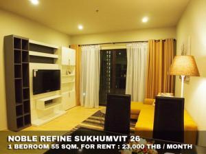 For RentCondoSukhumvit, Asoke, Thonglor : FOR RENT NOBLE REFINE SUKHUMVIT 26 / 1 bedroom / 55 Sqm. **23,000** Corner room with modern decorated. SUPER DEAL. SHORT WALK TO BTS PHOMPONG