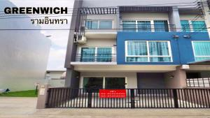 For RentTownhouseNawamin, Ramindra : A 3-STOREY TOWNHOUSE at GREENWICH RAMINTRA VILLAGE for rent, 3BR/3BA, Close to Makro Ramintra.