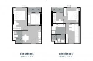 ขายคอนโดลาดพร้าว เซ็นทรัลลาดพร้าว : 1 Bed ชั้น 43 ห้องใหญ่ 2 แบบยอดฮิต ราคาเดียวเท่านั้น!!เลือกเลย