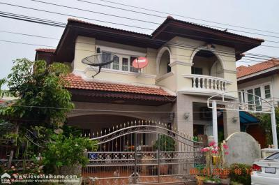 For SaleHouseLadkrabang, Suwannaphum Airport : 2-storey detached house for sale in Chaloem Phrakiat Rama 9 Road, Soi 28, Suan Luang Ville 1 Village Area 67.1 sq.m. House decorated near Suan Luang Rama 9, Ramkhamhaeng University 2