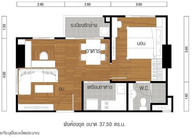 ขายคอนโดพระราม 9 เพชรบุรีตัดใหม่ : โครงการลุมพินี พาร์ค พระราม 9 รัชดา ตึก A ชั้น 19 ห้อง 1918 พื้นที่ขนาด 37 ตร.ม. ขาย 3,700,000 บาท