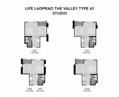 For SaleCondoLadprao, Central Ladprao : Sale down payment studio 400,000 (200,000 loss) Project Life LADPRAO Valley near MRT Phahon Yothin and BTS Ha Yaek Lat Phrao
