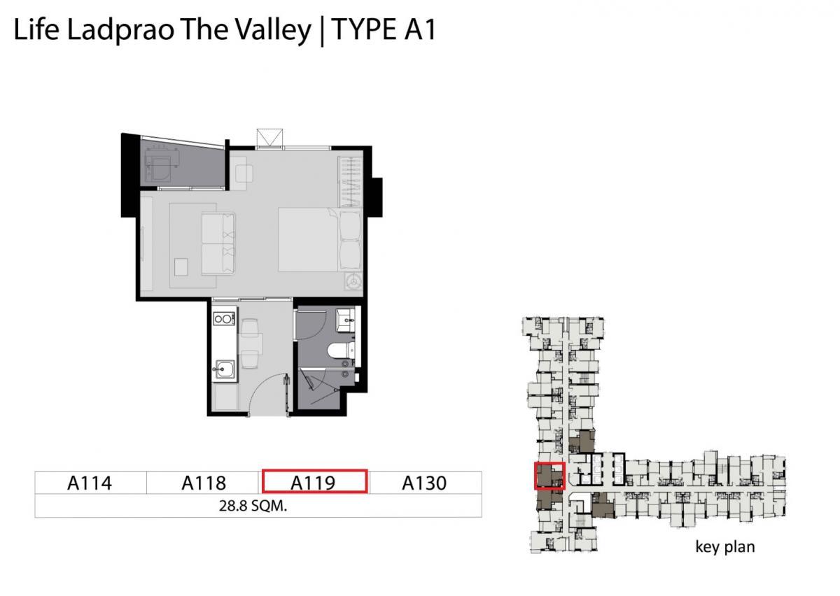 ขายคอนโดลาดพร้าว เซ็นทรัลลาดพร้าว : ขายดาวน์ Life Ladprao Valley ชั้น 35 ทิศใต้ วิวสวนจตุจักร