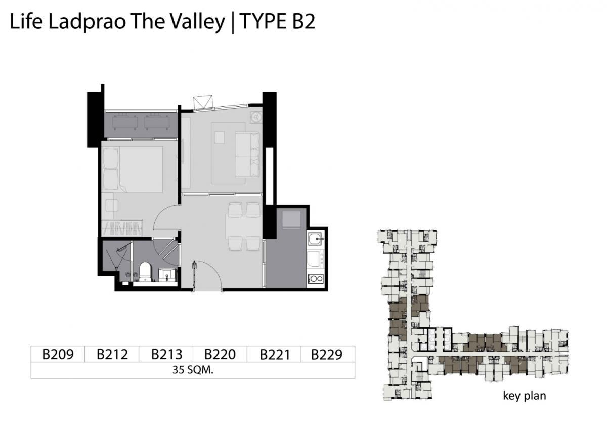 ขาย ไลฟ์ลาดพร้าววัลเล่ย์ Life Ladprao Valley ::: 1 BED - 35 sq.m ::: B2 ::: ครัวเเยกแบบเดียวในโครงการ วิวสวนจตุจักรสุดลูกหูลูกตา